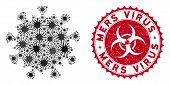 Coronavirus Mosaic Mers Virus Icon And Rounded Grunge Stamp Seal With Mers Virus Phrase. Mosaic Vect poster