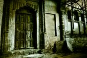 foto of abandoned house  - Front of a creepy old house - vintage greenish version