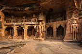 Rockcut Statues of Jain thirthankaras in rock niches near Gwalior fort. Gwalior, Madhya Pradesh, Ind