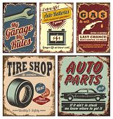 foto of 50s 60s  - Vintage car service metal signs and posters vector - JPG