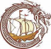 picture of kraken  - Woodcut style image of a dragon encircling a pirate ship - JPG