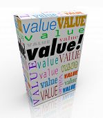 The word Value on a product box to symbolize or advertise it is the best package in terms of quality