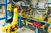 industrial robot on production line for foam
