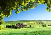 image of farm landscape  - Tuscany landscape with typical farm house - JPG