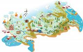 image of ural mountains  - Cartoon vector map of Russia with a symbol of Moscow  - JPG