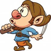 Cute dwarf whistling. Vector clip art illustration. All in a single later.