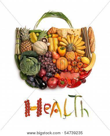 Постер, плакат: Продукты питания для здоровья сумочка, холст на подрамнике
