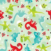 Seamless baby dinosaur animal fun illustration background pattern in vector