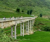 image of hmong  - Amazing Bridge In Sapa Mountains In North of Vietnam near China - JPG