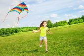 6 Years Old Girl Running With Kite