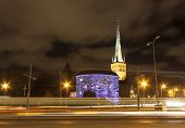 image of olaf  - Illuminated colorfuul cannon tower Fat Margareta and tall church St - JPG