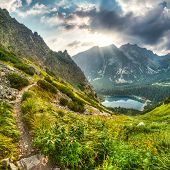 stock photo of chalet  - mountain landscape with mountain chalet near Poprad Pond High Tatras Slovakia - JPG