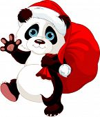 Cute Panda with a sack full of gifts