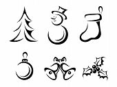 image of fir  - Set of six vector black silhouettes of Christmas elements - JPG
