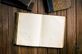 top view of ancient open book on wooden background