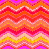 Hand drawn zigzag pattern in tropical coral red.