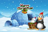 stock photo of igloo  - Illustration of a snowman and a penguin in front of the igloo - JPG