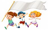 foto of playmate  - Illustration of the three kids running with an empty banner on a white background - JPG