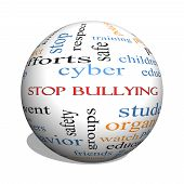 stock photo of stop bully  - Stop Bullying 3D sphere Word Cloud Concept with great terms such as students cyber safety and more - JPG
