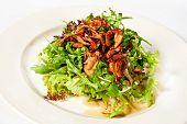 foto of bolete  - Mix salad with lettuce rucola and fried bolete - JPG