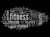 picture of high calorie foods  - High resolution concept or conceptual abstract fitness and health word cloud or wordcloud on black background - JPG