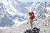 image of siberia  - Hiker near Belukha Mountain the highest in Siberia - JPG