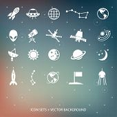 stock photo of moon silhouette  - Outer space and air transport icons silhouettes - JPG