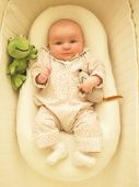 pic of bassinet  - Baby in bassinet with toys. Vertically framed shot. ** Note: Slight blurriness, best at smaller sizes - JPG