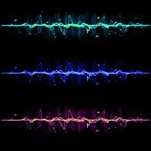 stock photo of neon green  - Electric wave pulse collection set 2 in blue purple and green - JPG