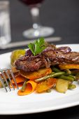 picture of swabian  - swabian steak with roasted onion rings and vegetables - JPG