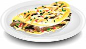 stock photo of cheese-steak  - Illustration of a steak and cheese omelet on plate - JPG