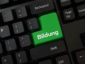picture of yoke  - Black computer Keyboard with a word Bildung - JPG