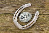 stock photo of talisman  - horseshoe as talisman for success at new year 2015 - JPG