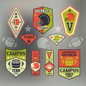 pic of neon green  - Set of emblems college sport team rugby - JPG