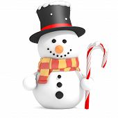 picture of top-hat  - Snowman with black top hat and scarf holding candy cane in left hand - JPG