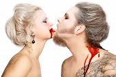 stock photo of marquise  - Portrait of pierced tattooed man and woman with old - JPG