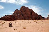 pic of arid  - Arid mountain landscape during offroad safari in Wadi Rum desert Jordan - JPG