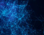stock photo of cybernetics  - Blue abstract digital background with cybernetic particles - JPG