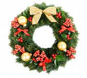 stock photo of christmas wreath  - Christmas decorative wreath with leafs of mistletoe isolated on white - JPG