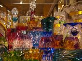foto of bohemian  - Counter with bohemian glass in Prague city [[** Note: Shallow depth of field ** Note: Visible grain at 100%, best at smaller sizes - JPG