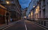 image of london night  - Empty street of London at night - JPG