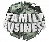 stock photo of start over  - Family Business 3d words on ball or sphere of money in hundred dollar bills to illustrate a company started or launched by members of families - JPG