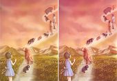 pic of say goodbye  - Illustration of a little girl saying goodbye to her loving pets and family which is going to heaven - JPG