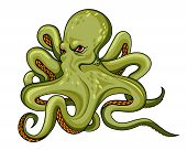 stock photo of octopus  - Danger octopus in cartoon style - JPG