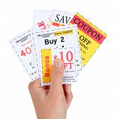 foto of coupon  - Set of cut coupons for shopping to save money - JPG