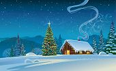 stock photo of snowy hill  - Winter landscape with a Christmas tree - JPG