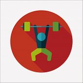 foto of weight lifter  - Weightlifting Flat Icon With Long Shadow - JPG