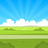 picture of cartoons  - The cartoon illustration of the summer landscape with country road - JPG