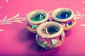 picture of deepavali  - indian decorative candle pot indian traditional festival retro style - JPG