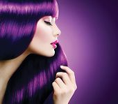 foto of brunette hair  - Beauty Model Woman with perfect make up and Healthy coloring violet Hair - JPG